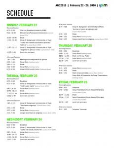 AGC2016 Schedule